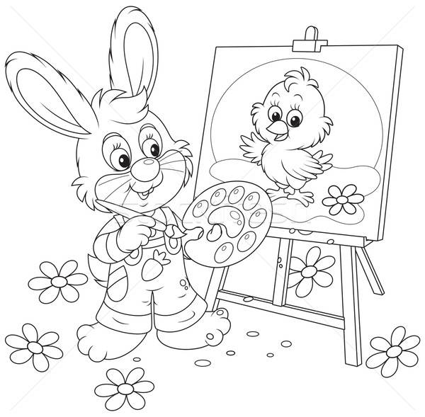 Easter Bunny drawing Stock photo © AlexBannykh