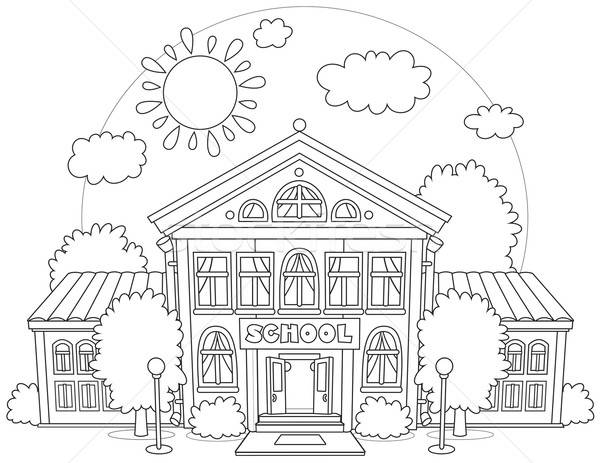 Black and white school building clip art