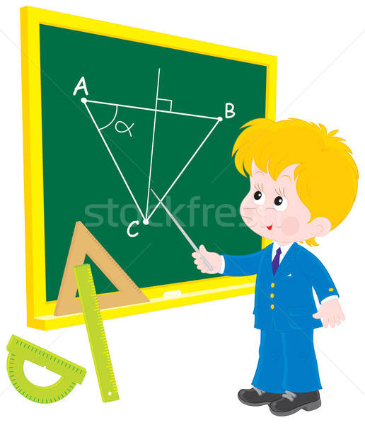 Schoolboy at lesson Geometry Stock photo © AlexBannykh