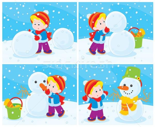 Pupazzo di neve piccolo ragazzo divertente ragazza bambino Foto d'archivio © AlexBannykh