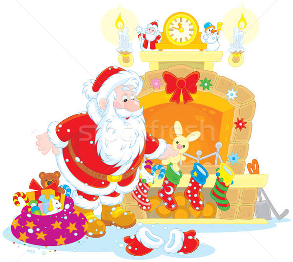 Santa with gifts Stock photo © AlexBannykh