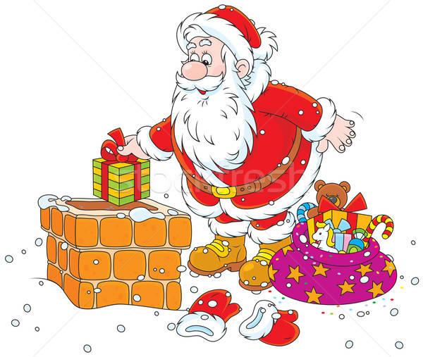 Stock photo: Santa on a housetop
