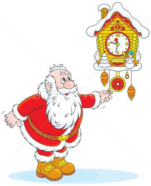 Kerstman vader christmas oude muur koekoek Stockfoto © AlexBannykh