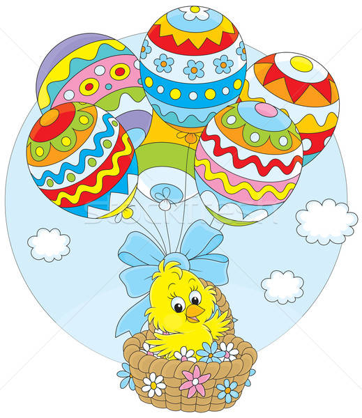 Easter Chick flies with balloons Stock photo © AlexBannykh