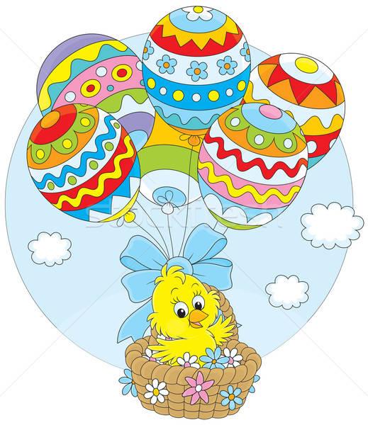 Pascua Chick globos pequeño amarillo pollo Foto stock © AlexBannykh