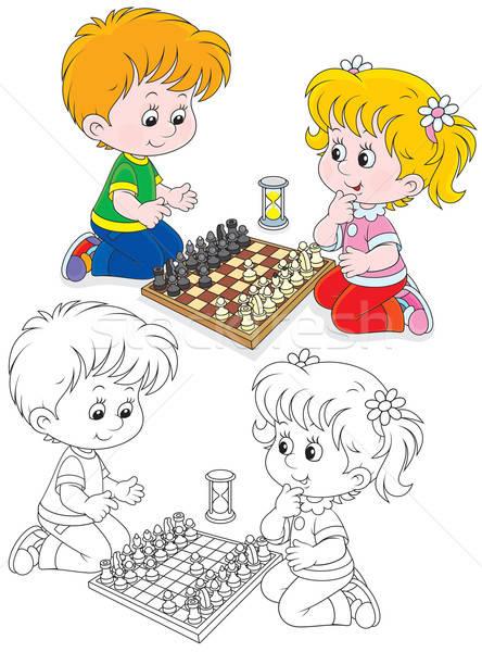 Children play chess Stock photo © AlexBannykh