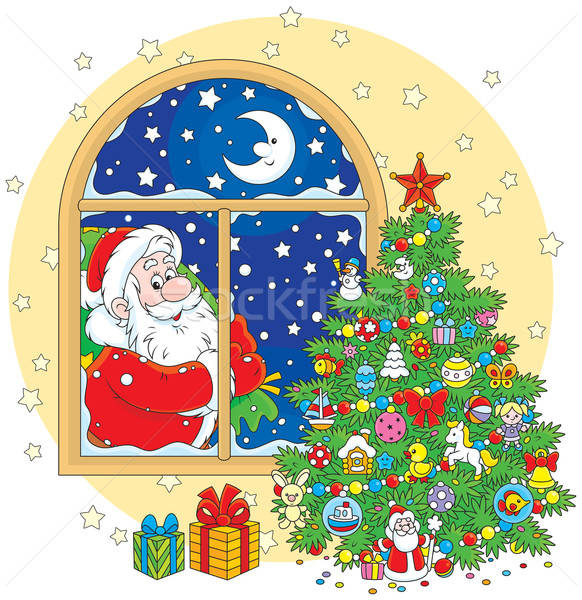 Santa Claus and Christmas tree Stock photo © AlexBannykh