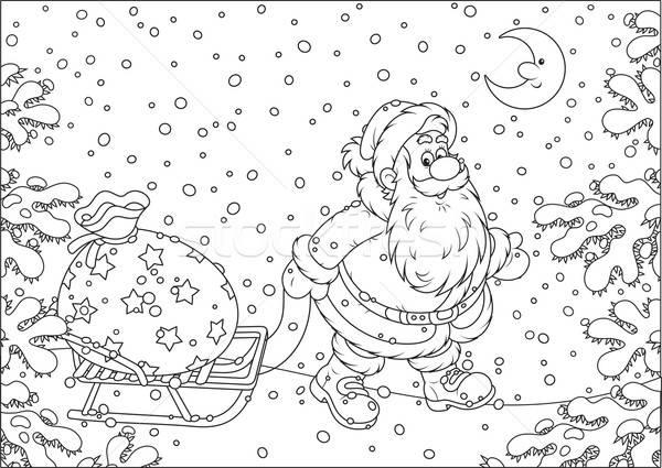 Santa with a gift bag Stock photo © AlexBannykh