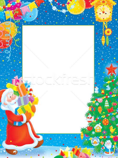 Natal fronteira papai noel árvore de natal decorações presentes Foto stock © AlexBannykh