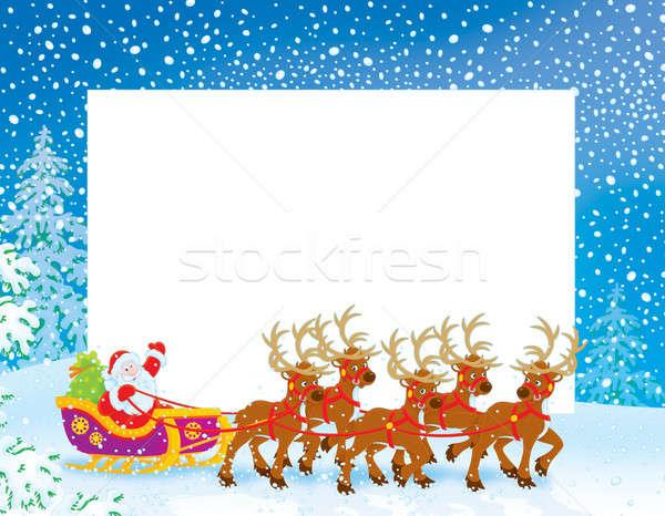 Border with Sleigh of Santa Claus Stock photo © AlexBannykh
