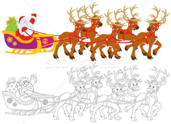 Foto d'archivio: Babbo · natale · Natale · regali · slitta · inverno · vacanze