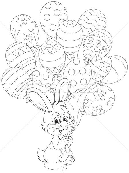 Easter Bunny with holiday balloons Stock photo © AlexBannykh