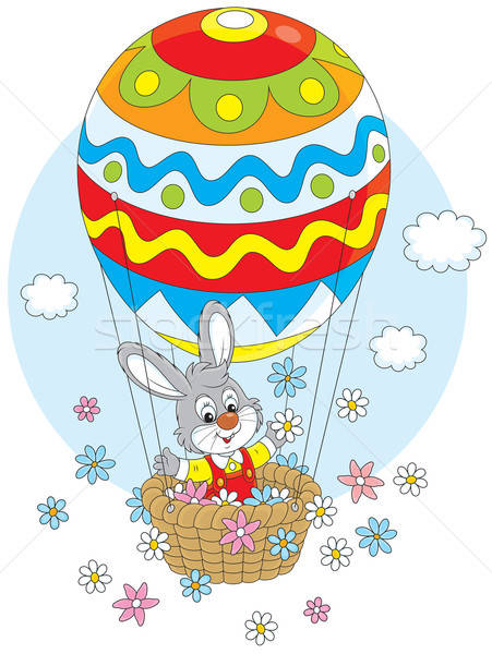Easter Bunny in a balloon Stock photo © AlexBannykh