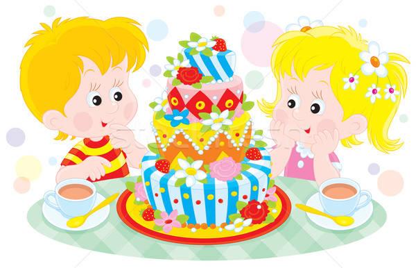 Születésnapi torta lány fiú nagy színes gyermek Stock fotó © AlexBannykh