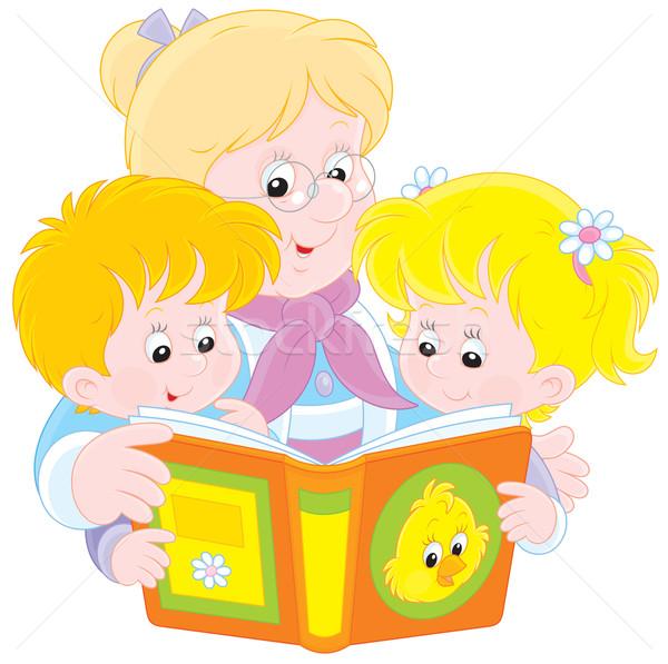 Grandma and grandchildren reading Stock photo © AlexBannykh