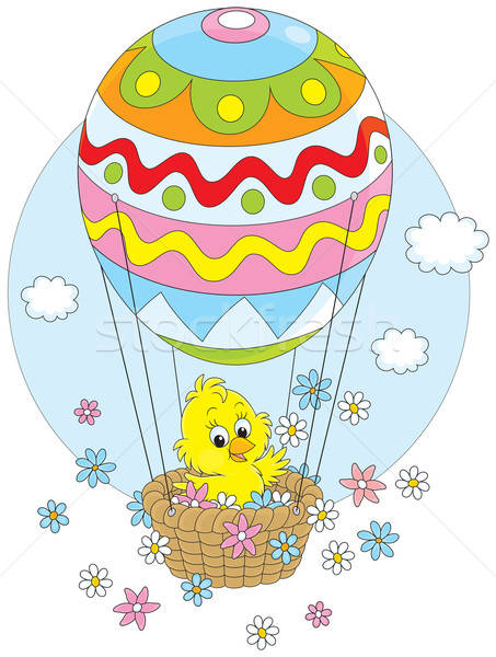 Easter Chick flying in a balloon Stock photo © AlexBannykh