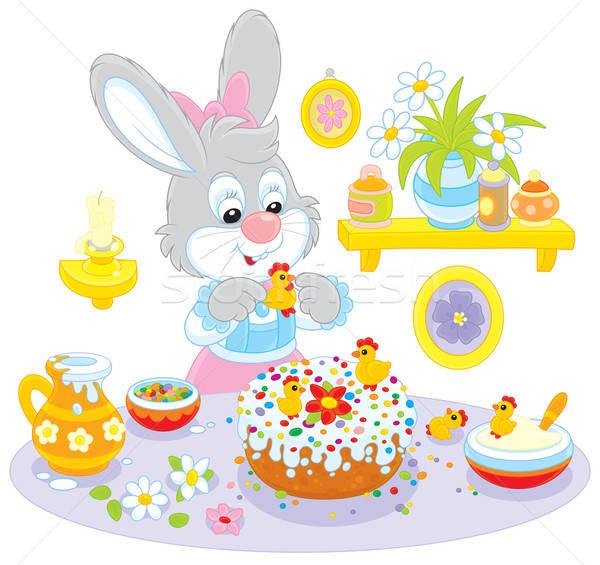 Nyuszi ünnep torta húsvét nyúl asztal Stock fotó © AlexBannykh
