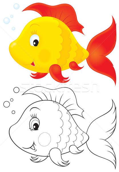 Speelgoed vis clipart illustratie Geel Rood Stockfoto © AlexBannykh