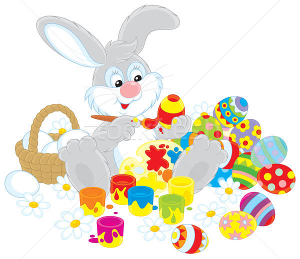 Easter Bunny painter Stock photo © AlexBannykh