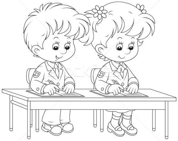 Schoolchildren writing Stock photo © AlexBannykh