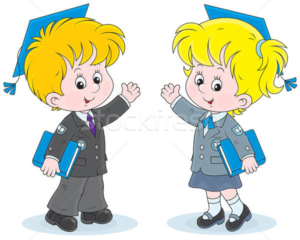 Schoolchildren with trencher-caps Stock photo © AlexBannykh