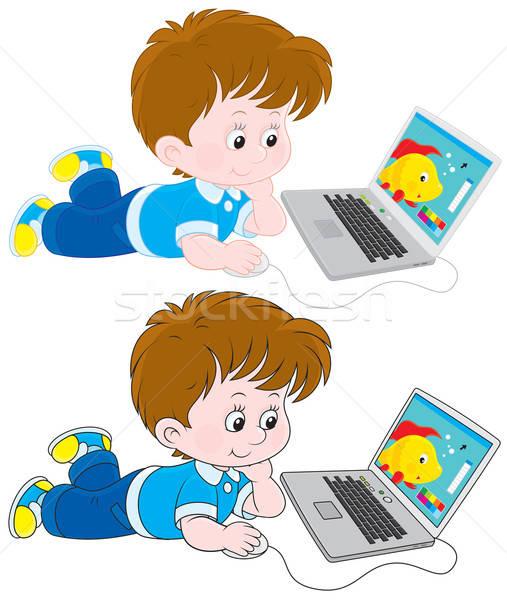 Boy with a laptop Stock photo © AlexBannykh
