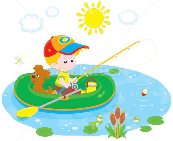 Mały rybak chłopca nadmuchiwane łodzi Zdjęcia stock © AlexBannykh