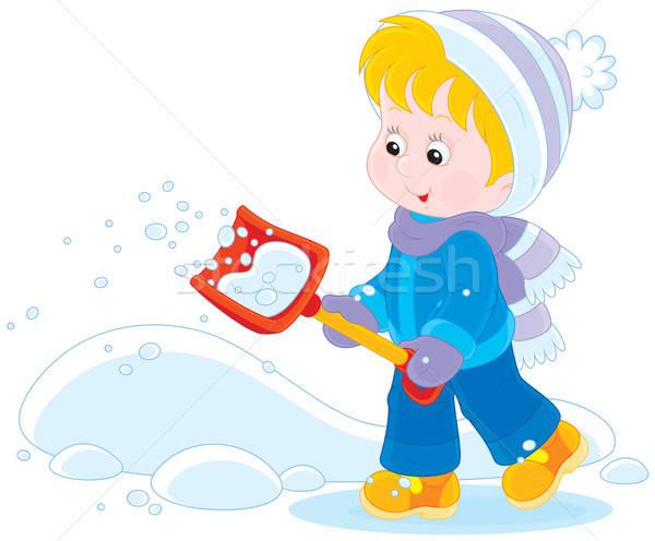 Child with a snow shovel Stock photo © AlexBannykh