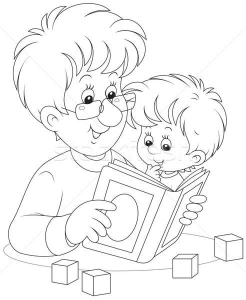 Father and son reading Stock photo © AlexBannykh