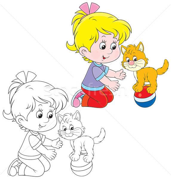 Meisje kitten meisje spelen klein bal Stockfoto © AlexBannykh