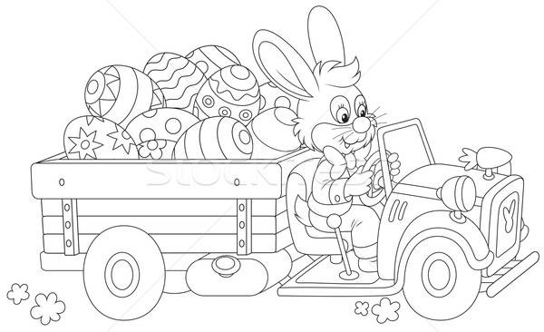 Bunny ester eieren Pasen konijn vrachtwagen Stockfoto © AlexBannykh