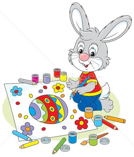 Little Bunny draws an Easter card Stock photo © AlexBannykh