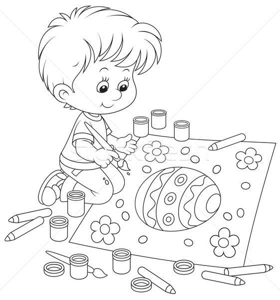 Kid drawing an Easter egg Stock photo © AlexBannykh