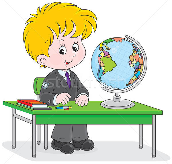 Stock photo: Schoolboy at geography lesson
