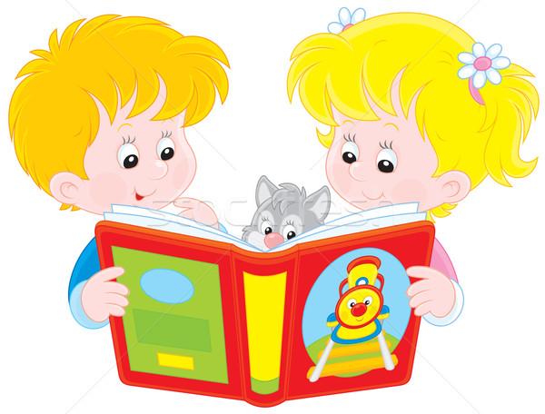 Gyerekek olvas kislány fiú könyv lány Stock fotó © AlexBannykh