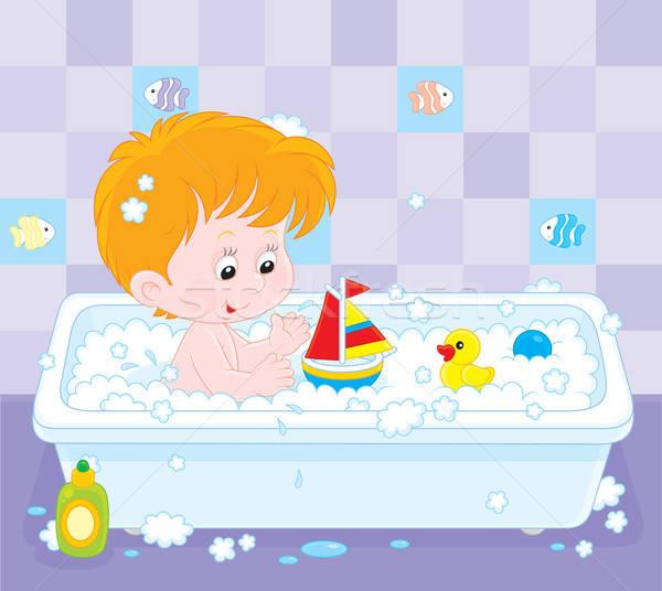Fiú fürdik kicsi játszik játékok fürdőkád Stock fotó © AlexBannykh