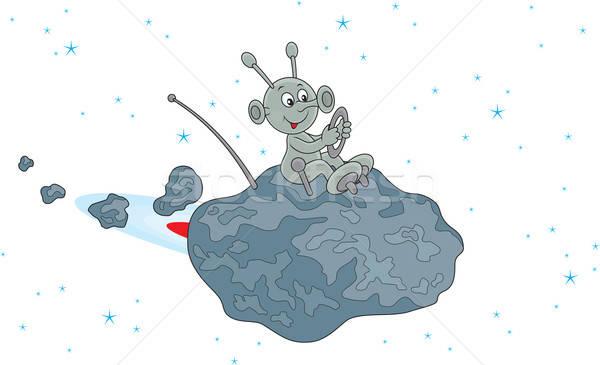 Meteorit vicces idegen repülés kicsi űr Stock fotó © AlexBannykh