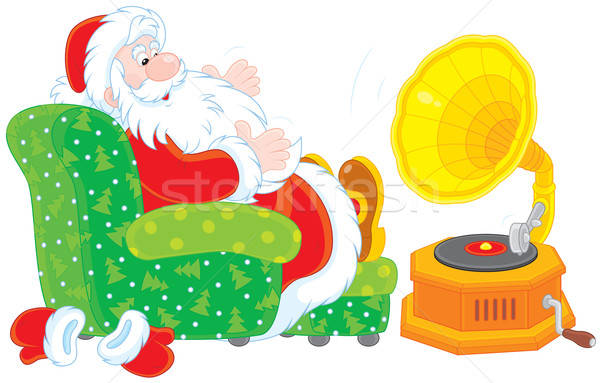 Santa Claus listening to music Stock photo © AlexBannykh