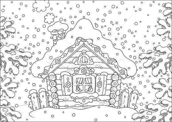 Log hut in snow Stock photo © AlexBannykh