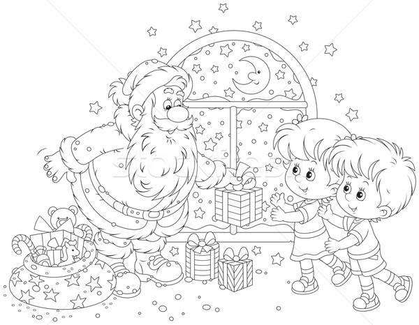 Santa and kids Stock photo © AlexBannykh