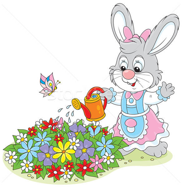 Stock photo: Easter Bunny watering flowers