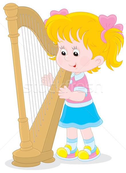 Küçük kız oynama büyük arp müzik okul Stok fotoğraf © AlexBannykh
