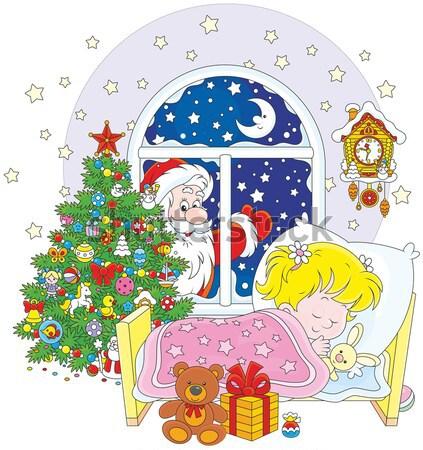 Mikulás gyerekek mikulás karácsony ajándékok kislány Stock fotó © AlexBannykh