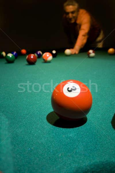 Homem mesa de bilhar esportes luz tabela verde Foto stock © alexeys
