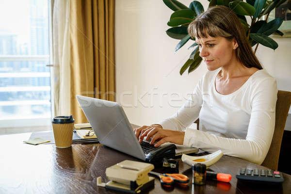 Ministerstwo spraw wewnętrznych kobieta pracy kawy pracy domu Zdjęcia stock © alexeys