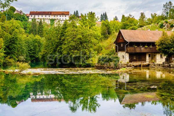 Petite ville Croatie rivière ville central été Photo stock © alexeys