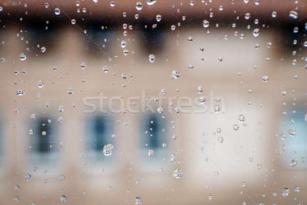 Lluvia ventana primer plano imagen gotas vidrio Foto stock © alexeys