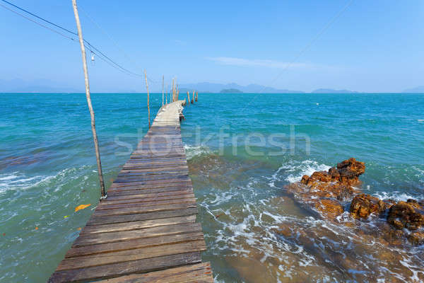 Dock vuota fuori cielo legno tropicali Foto d'archivio © alexeys