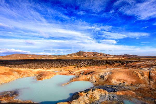 Volkanik alan sıcak havuz İzlanda gökyüzü Stok fotoğraf © alexeys