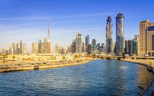 Dubai belváros sziluett festői kilátás csatorna Stock fotó © alexeys